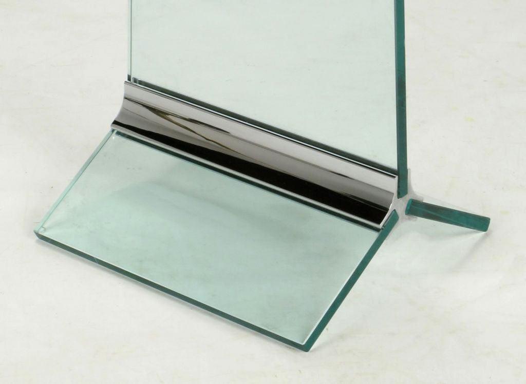 Tall Post Modern Plate Glass & Steel Floor Clock 5