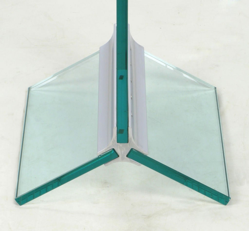 Tall Post Modern Plate Glass And Steel Floor Clock At 1stdibs
