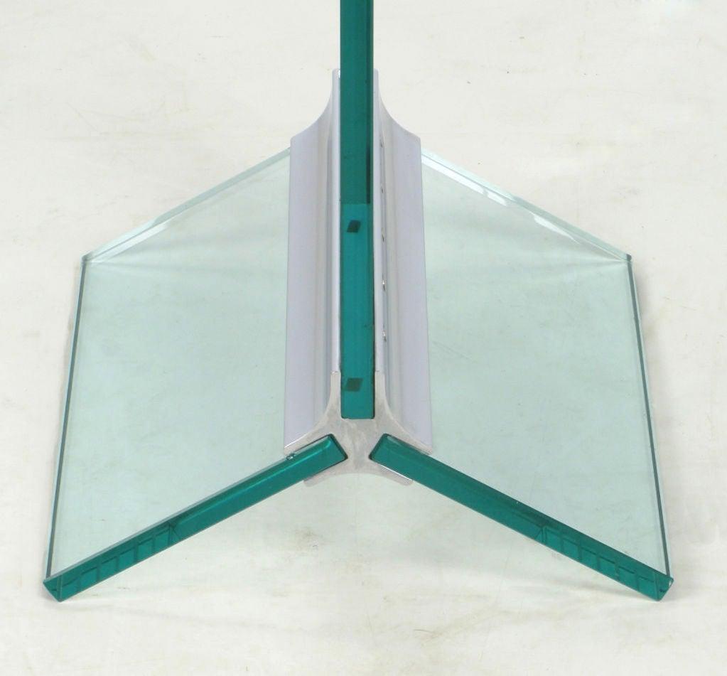 Tall Post Modern Plate Glass & Steel Floor Clock 6