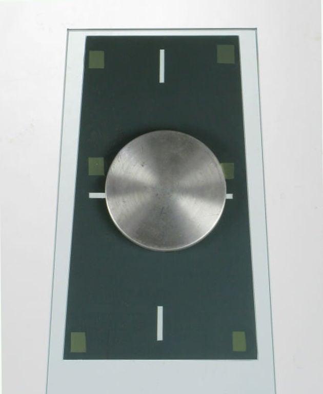 Tall Post Modern Plate Glass & Steel Floor Clock 7