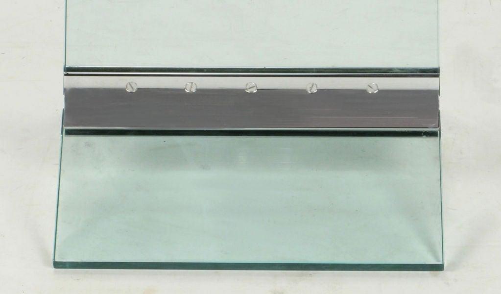 Tall Post Modern Plate Glass & Steel Floor Clock 8