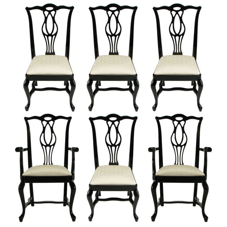 Black Lacquer Dining Room Chairs: Set Six Italian Black Lacquer Chinese Chippendale Dining