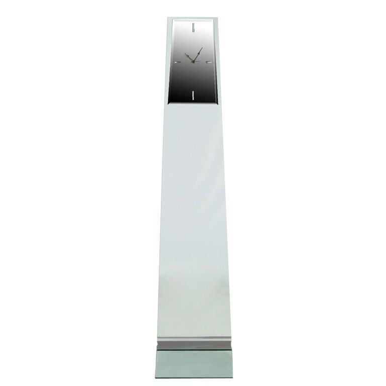 Tall Post Modern Plate Glass & Steel Floor Clock 1