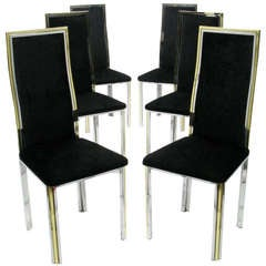 Six Chrome and Brass Dining Chairs Attributed to Romeo Rega