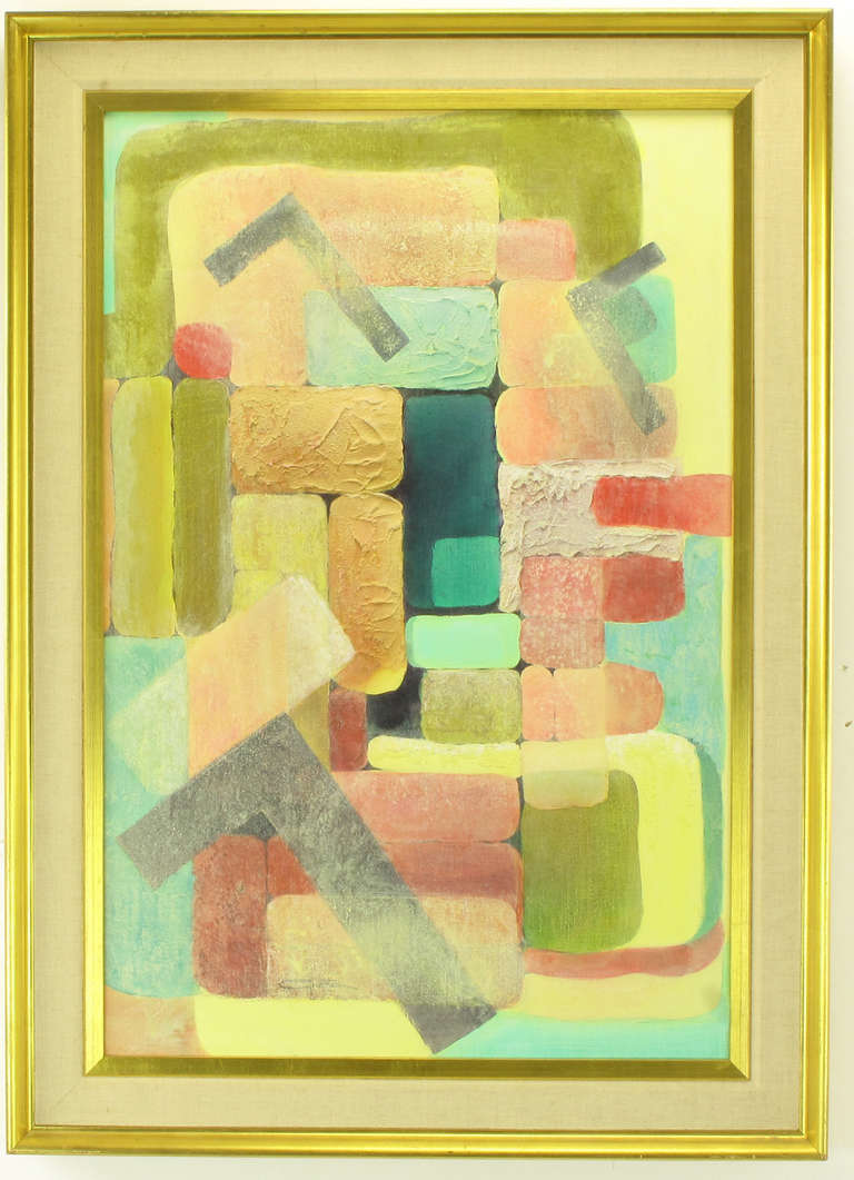 Brightly colored cubist inspired mixed media painting with relief impasto mixed with a sand like element. Framed in a gilt frame with linen and gilt beveled mats or inner frames. Signed Gretchen.