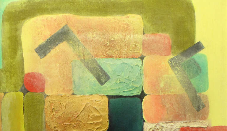American Abstract Relief Cubist Inspired Mixed Media on Canvas For Sale
