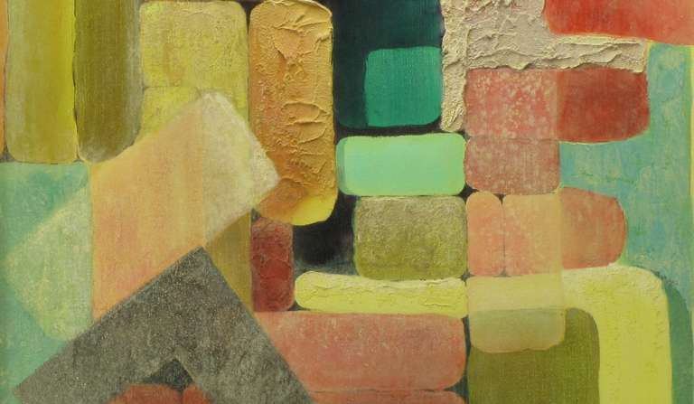 20th Century Abstract Relief Cubist Inspired Mixed Media on Canvas For Sale