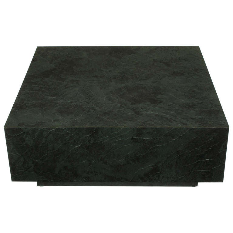 Attirant Floating Square Coffee Table In Green And Black Slatelike Material