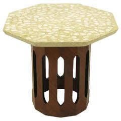 Harvey Probber Mahogany Dodecagon & Terrazzo Side Table