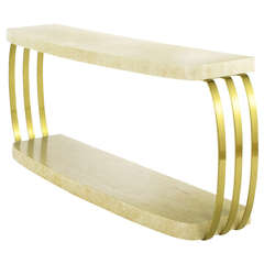 Henredon Postmodern Brushed Brass and Cerused Oak Console Table