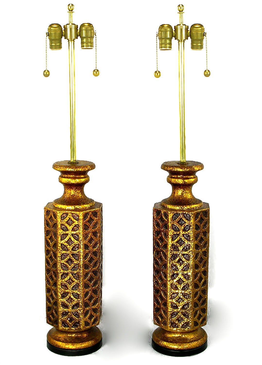 Pair Of Moroccan Style Gilt Arabesques Table Lamps For