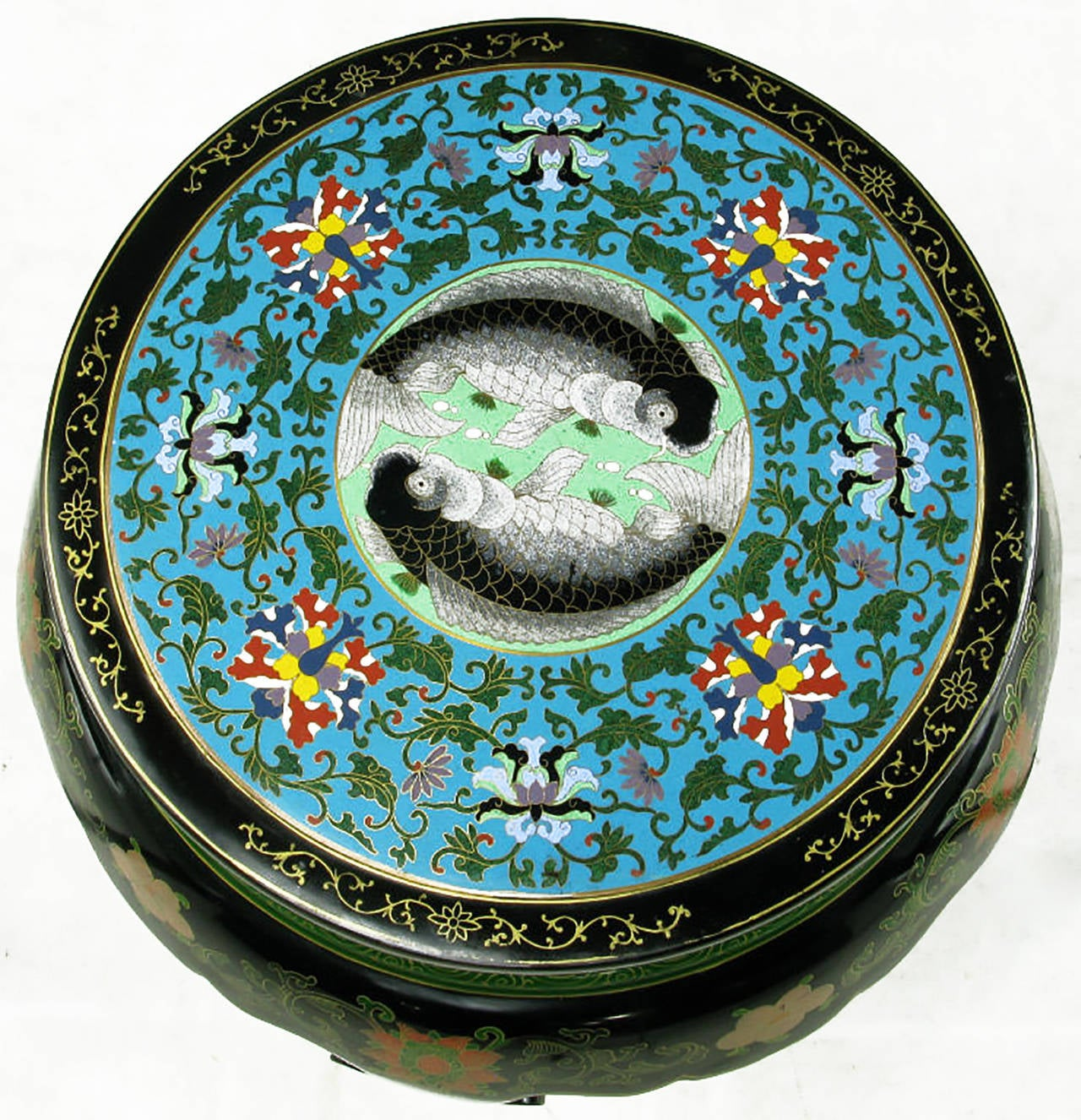Elegant polychrome cloisonné and black lacquered side table. The petite chinoiserie table has five cabriole legs as oppose to the usual four, and they are surmounted on a carved and hand-painted round base. The enameled cloisonné top is finished in