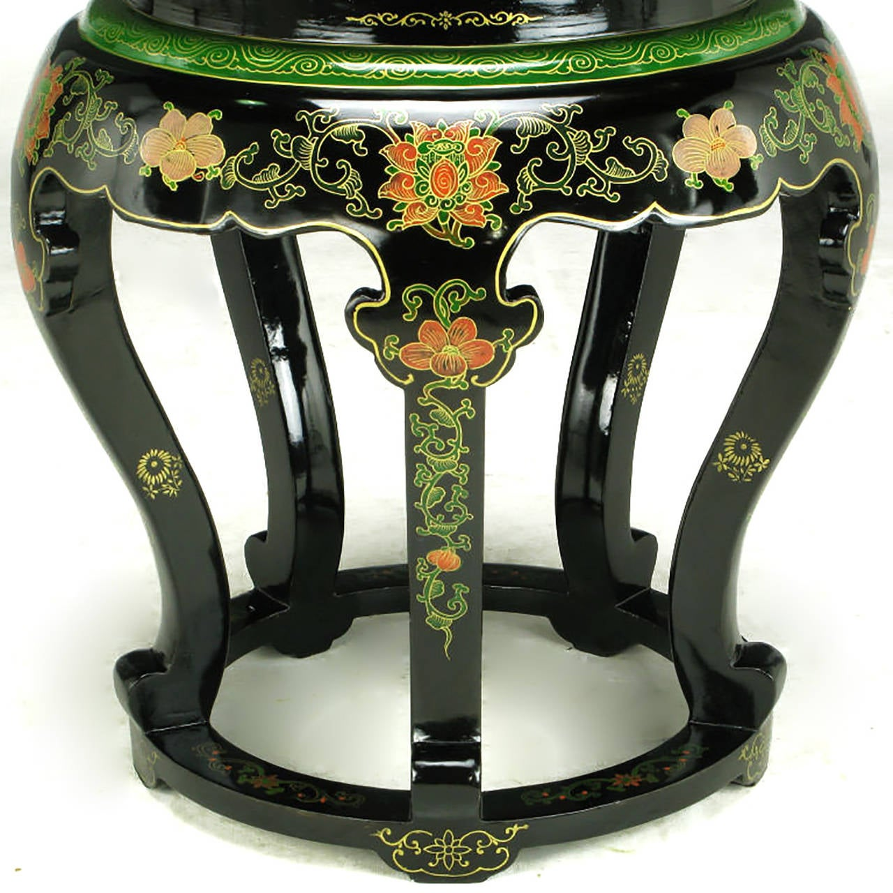 Mid-20th Century Polychrome Cloisonné and Black Lacquered Side Table For Sale