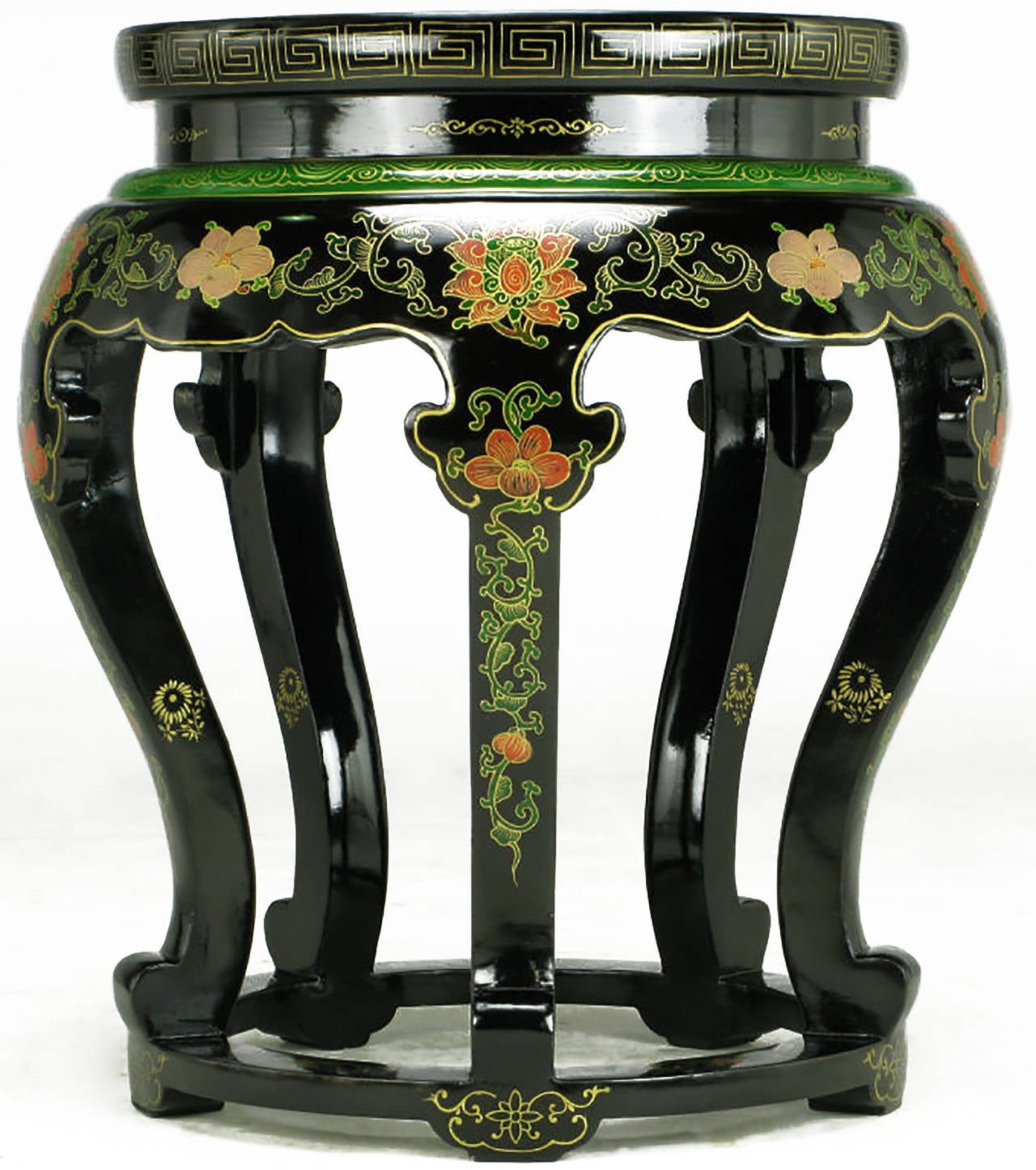 Polychrome Cloisonné and Black Lacquered Side Table For Sale 1
