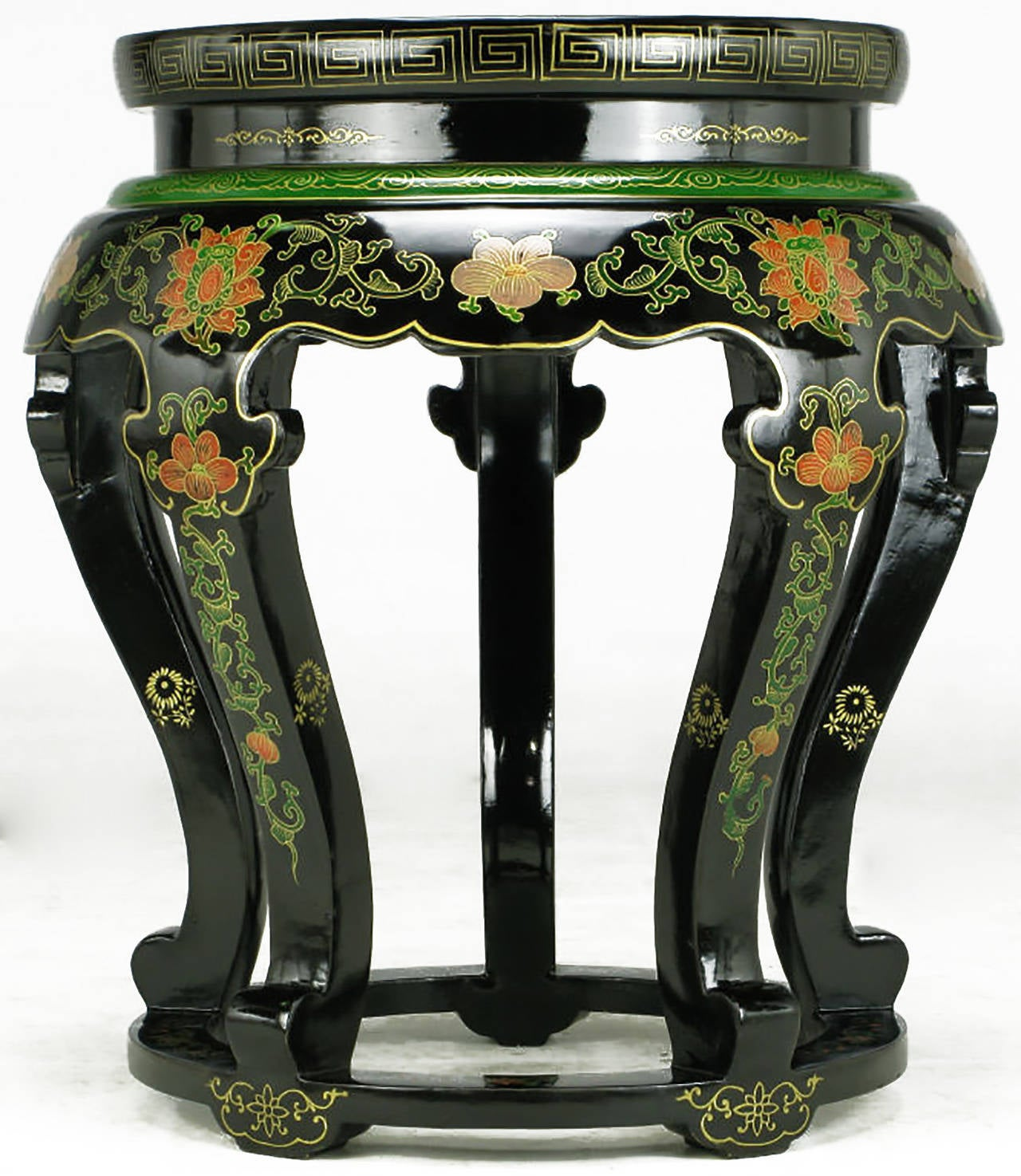 Chinese Polychrome Cloisonné and Black Lacquered Side Table For Sale
