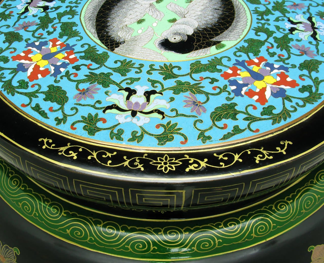 Brass Polychrome Cloisonné and Black Lacquered Side Table For Sale