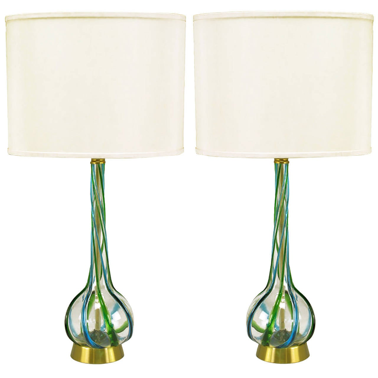 of murano blue and green ribbon glass table lamps for sale at 1stdibs. Black Bedroom Furniture Sets. Home Design Ideas