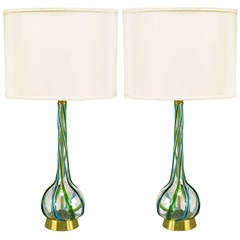 Pair of Murano Blue and Green Ribbon Glass Table Lamps