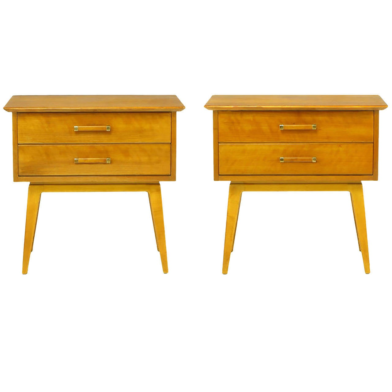 Pair of Renzo Rutili Two-Drawer Nightstands in Bleached Walnut For Sale