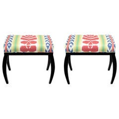 Pair of Interior Crafts Black Lacquer and Ikat Benches