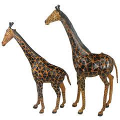 Pair of Leather Giraffe Models