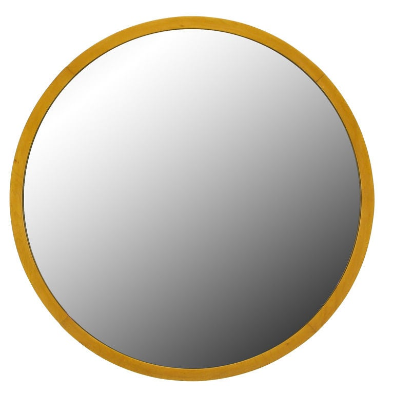 """Art Deco Wall Mirror 31"""" round art deco wall mirror with maple wood frame at 1stdibs"""