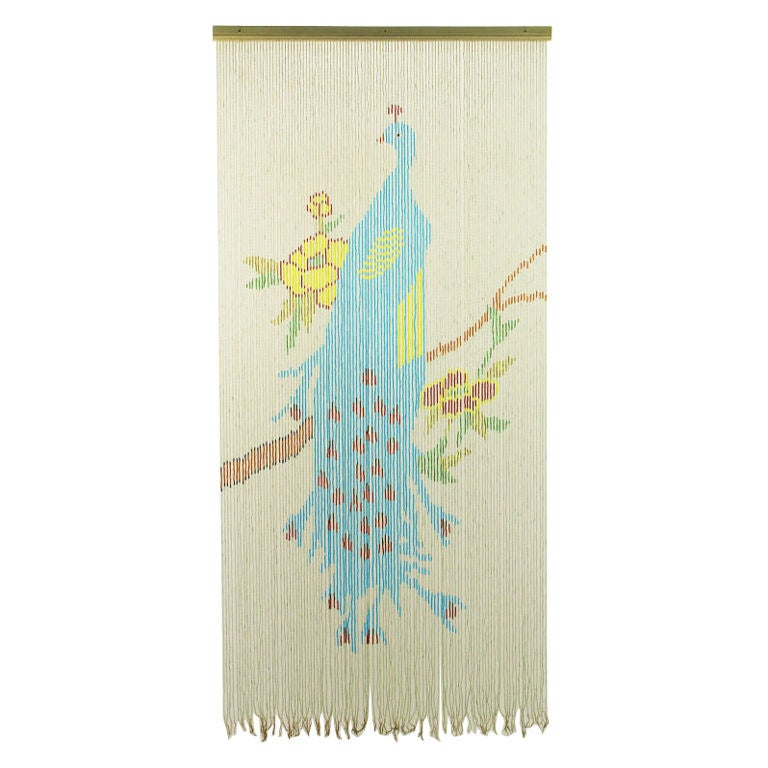 1940s beaded glass blue peacock curtain or wall hanging