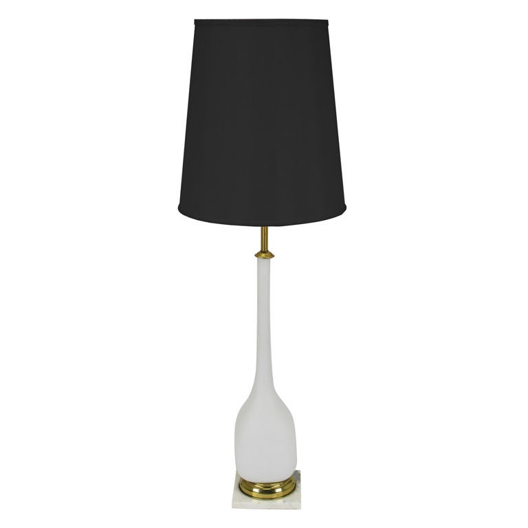 murano glass and carrera marble base table lamp for sale at 1stdibs. Black Bedroom Furniture Sets. Home Design Ideas