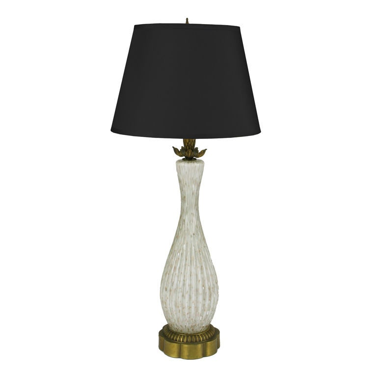 Murano Cordonato D'Oro Fluted Glass Table Lamp