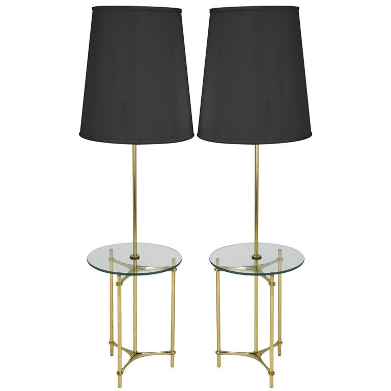 Top Floor Lamps: Pair Laurel Lamp Brass And Glass Table Top Floor Lamps At