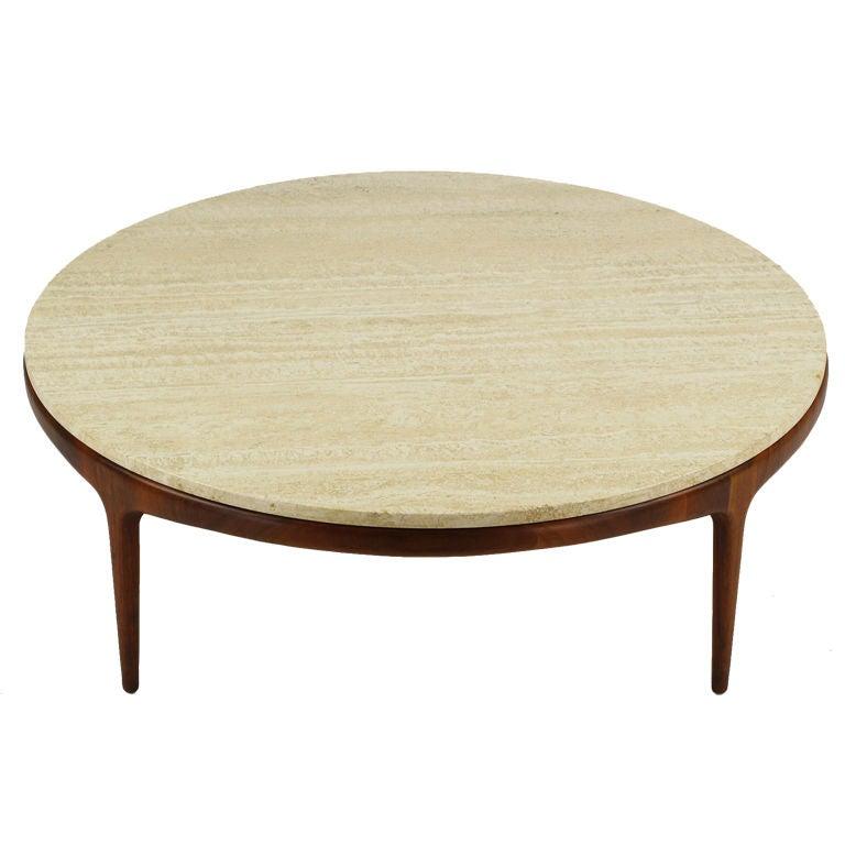 Italian Modern Round Figural Walnut Travertine Coffee Table