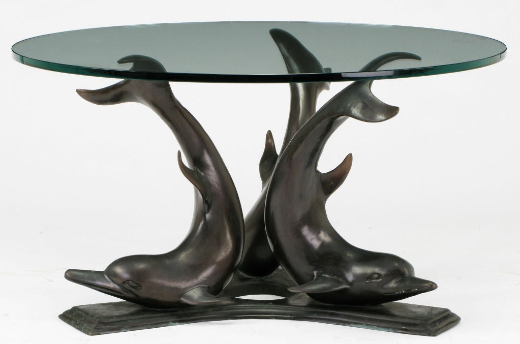 Cast Bronze And Glass Triple Dolphin Coffee Table At 1stdibs