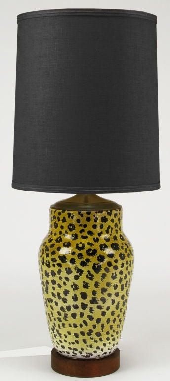 Large Italian Ceramic Leopard Glazed Table Lamp 2
