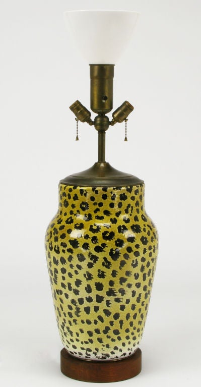 Large Italian Ceramic Leopard Glazed Table Lamp 3