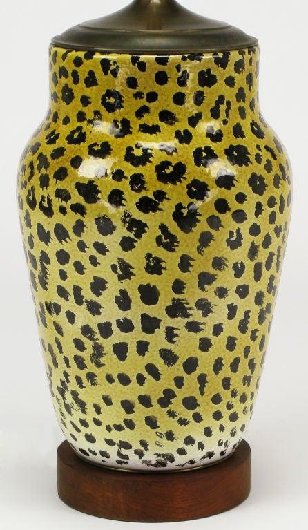 Large Italian Ceramic Leopard Glazed Table Lamp 4