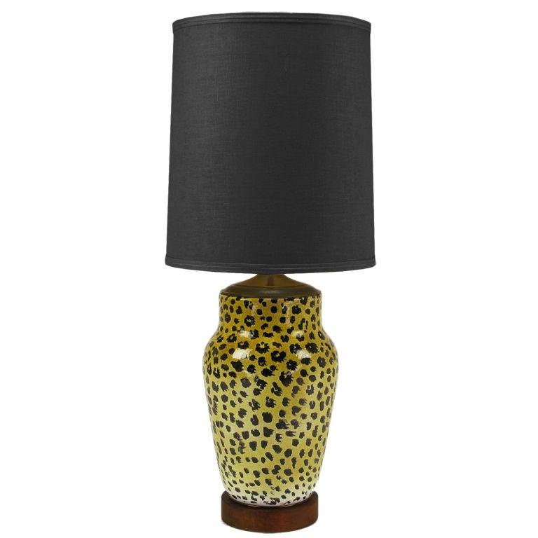 Large Italian Ceramic Leopard Glazed Table Lamp