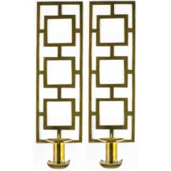 Pair Large Cast Brass Spanish Geometric Candle Sconces