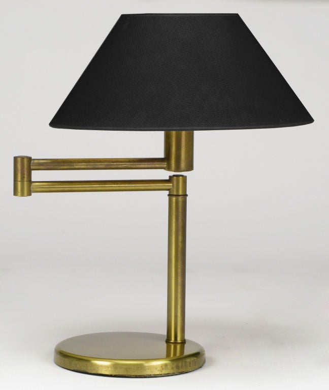 Walter Von Nessen Brushed Brass Swing Arm Desk Lamp At 1stdibs
