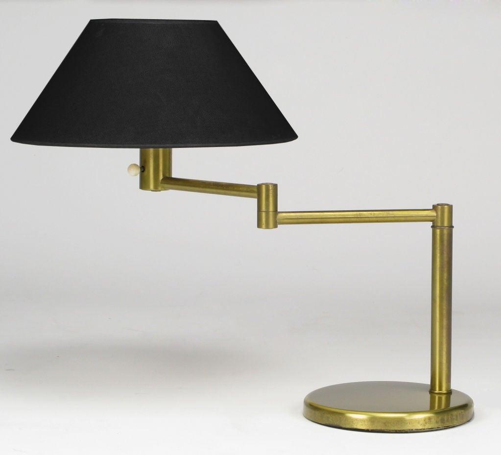 walter von nessen brushed brass swing arm desk lamp at 1stdibs. Black Bedroom Furniture Sets. Home Design Ideas