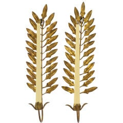 Pair Of Gilt Metal Laurel Leaf Candle Sconces