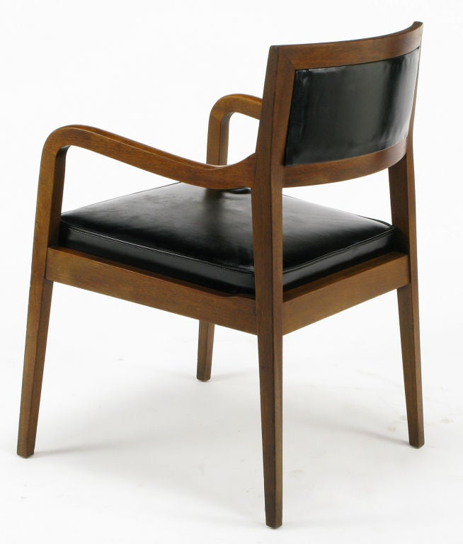 Stow Davis Mahogany And Black Leather Arm Chair At 1stdibs