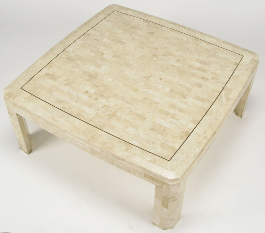 Tessellated Fossil Stone And Brass Inlaid Coffee Table At 1stdibs