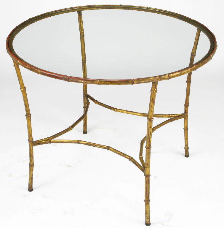 Round gilt metal bamboo dining table at 1stdibs
