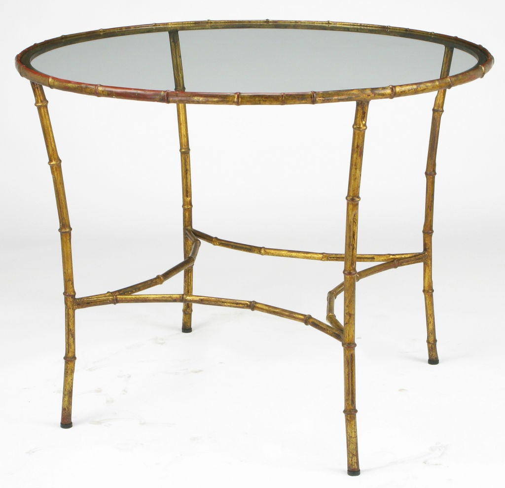 Round Gilt Metal Bamboo Dining Table Image 5