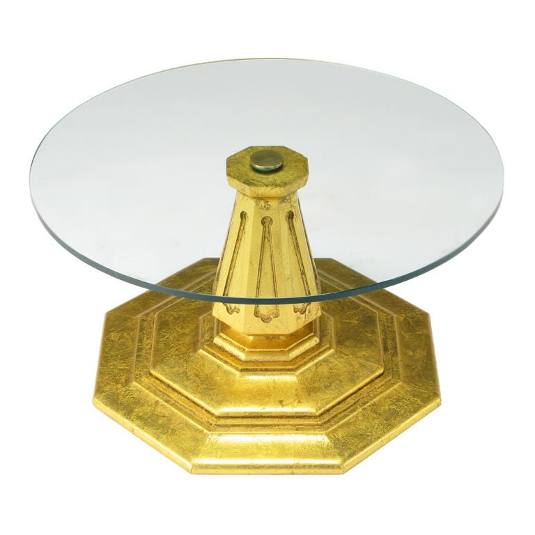 Octagonal Gilt Regency Pedestal Side Table
