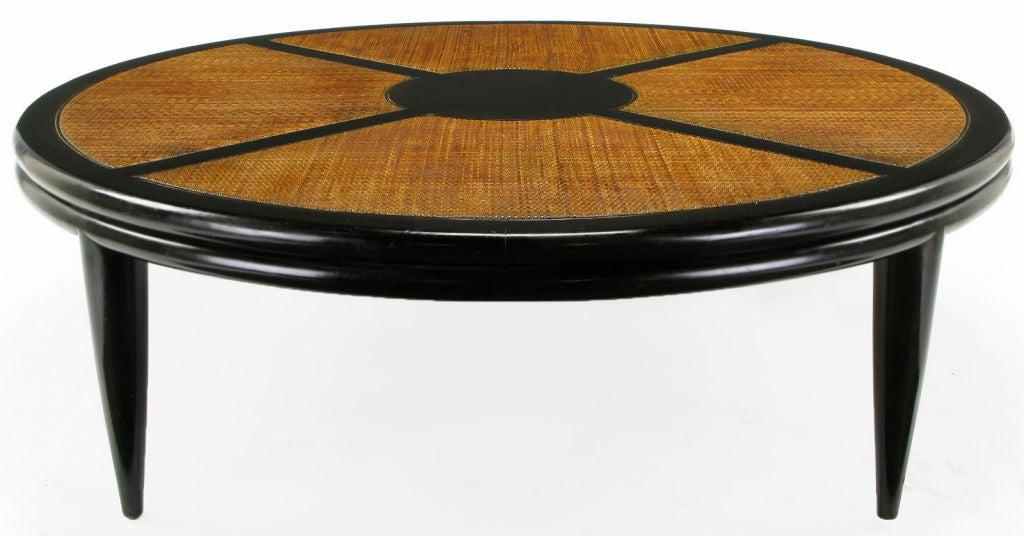John Stuart Round Cane And Ebonized Mahogany X Top Coffee Table At 1stdibs