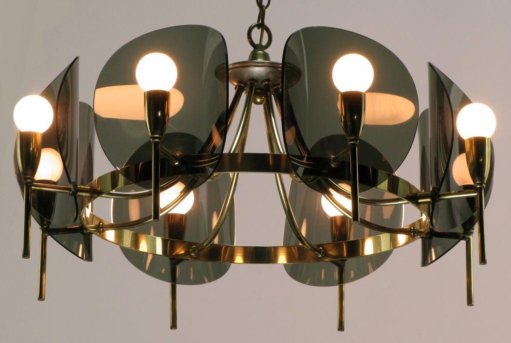 Shop Good Earth Lighting Metropolitan 3 Light Bronze: Brass And Smoked Acrylic Eight Arm Chandelier At 1stdibs