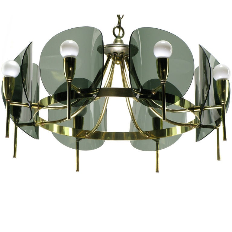 Brass And Smoked Acrylic Eight Arm Chandelier For Sale At