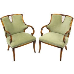 Pair Regency Beech Wood & Sage Velvet Sculptural Arm Chairs