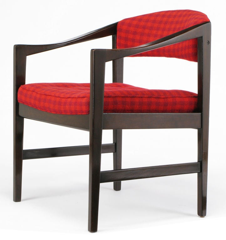 Dunbar Walnut and Crimson Check Upholstered Arm Chair For ...